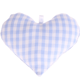 textile heart babyblue checkered
