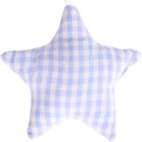 textile star babyblue checkered