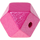 Hexagon (Holz) 12mm : perlmutt - dunkelpink