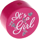 "Motivperle ""It's a girl"" : dunkelpink"