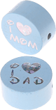 "Motivperle ""I Love Mom / Dad"" : babyblau"