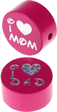 "Motivperle ""I Love Mom / Dad"" : dunkelpink"