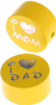 "Motivperle ""I Love Mom / Dad"" : gelb"