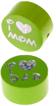 "Motivperle ""I Love Mom / Dad"" : gelbgrün"