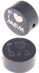 "Motivperle ""I Love Mom / Dad"" : grau"