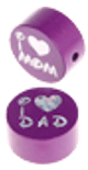 "Motivperle ""I Love Mom / Dad"" : purpurlila"
