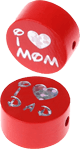 "Motivperle ""I Love Mom / Dad"" : rot"