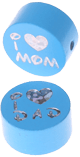 "Motivperle ""I Love Mom / Dad"" : skyblau"
