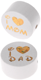 "Motivperle ""I Love Mom / Dad"" : weiß"