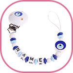 soother chain in white and blue