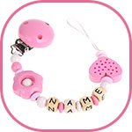 soother chain with flowers and hearts