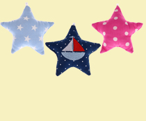 textile stars, fabric stars for pacifier chains