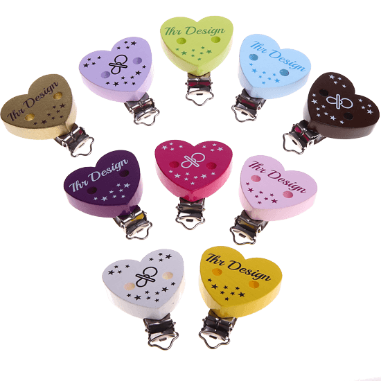 Custom-made heart-shaped pacifier clips