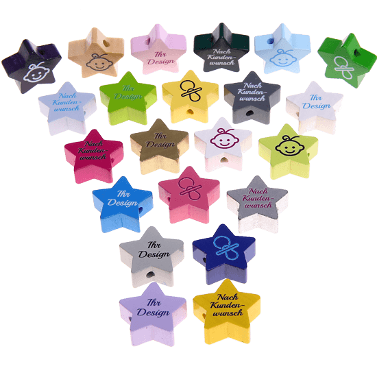 Star-shaped beads with your own design motif