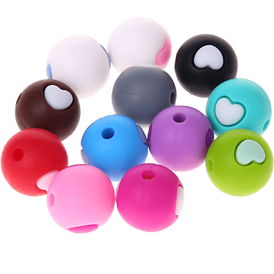 silicone beads -heart- 12mm