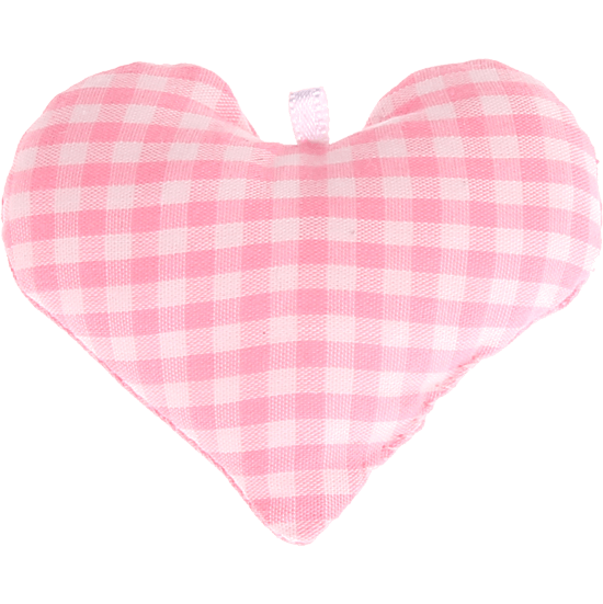 textile heart pink checkered