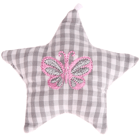 textile star grey butterfly