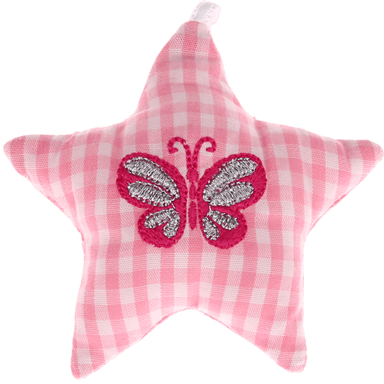 textile star pink butterfly
