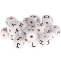 white embossed letter cubes 10mm