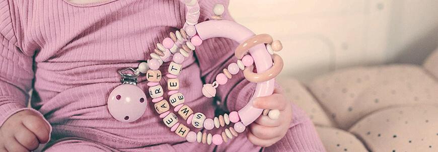 Buchstabenwürfel für Schnullerketten